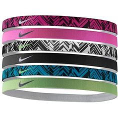 Nike 6-pk. Printed Stretch Headbands (Blue) ($15) ❤ liked on Polyvore featuring accessories, hair accessories, hair, blue, stretchy headbands, moisture wicking headband, nike hairband, stretch headbands and nike
