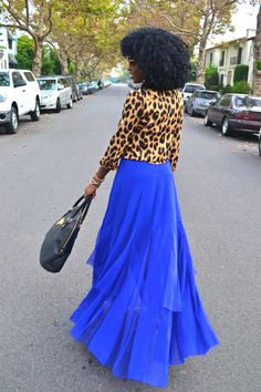 Style Pantry | Leopard Print Button Shirt + Royal Blue Mesh and Chiffon Maxi Skirt