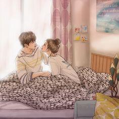 Cute Couple Drawings, Cute Couple Art, Anime Couples Drawings, Anime Love Couple, Couple Cartoon, Cute Couples, Cute Wallpaper Backgrounds, Cartoon Wallpaper, Painting Love Couple