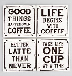 These great ceramic coasters have a variety of coffee themed phrases on them. They are made out of ceramic and have our bold typeface on them with words pulled Coffee Coasters, Diy Coasters, Ceramic Coasters, Homemade Coasters, Funny Coasters, Coaster Crafts, Coffee Meme, Coffee Signs, Coffee Quotes