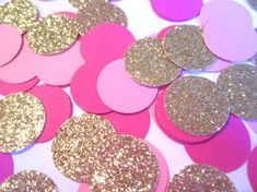 Make your pink party memorable with this confetti. Scatter it everywhere for the perfect punch of pink and glitter. Perfect for first birthdays, baby showers, flamingles and flamingo themed parties.  WHAT YOULL GET:  • 100 pieces of confetti in a mix of light pink, dark pink and gold glitter.  • Circles are approx. 5/8  • Gold glitter cardstock is one-sided, opposite side is white.  CUSTOMIZATION:  • Colors are completely customizable, please include any changes in Notes to Seller at che...