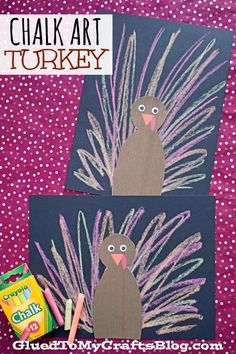 Paper Chalk Art Turkey - Kid Craft Chalk isn't just for outdoor fun! I'm hoping to encourage some colorful creativity on your kitchen table with our Paper Chalk Art Turkey kid craft tutorial! Thanksgiving Art, Thanksgiving Crafts For Kids, Thanksgiving Activities, Holiday Crafts, Thanksgiving Decorations, Spring Crafts, Fall Preschool, Preschool Crafts, Kids Crafts
