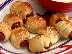 Mini-Pigs in a Blanket.  I made these for a Super Bowl party this year.  I like the idea of spreading the cresent rolls with mustard.  It gave it extra flavor.  57 calories each