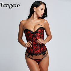 Tengeio Gothic Corsets And Bustiers Femme Women Corselet Lace Floral Steampunk Corset Clothing Bustier With G-String Body Corset