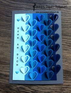 jpp - Karte blauer Herzen Farbverlauf / blue ombre hearts / sneak peek / OnStage 2016 / Schauwand Designer / Display Stamper / Stampin' Up! Berlin / Liebesgrüße / love notes / sealed with a kiss  www.janinaspaperpotpourri.de