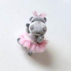 Artist bear Ballerina Hippo collectable bear 4'' 10 by LunaticShop