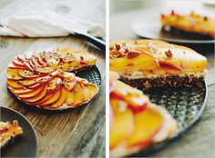Pecan Peach Tart...crust has dates, pecans, almond meal, coconut oil // can use coconut whipped cream for dairy-free // sweetened mascarpone + fresh peaches on top...sounds divine!!  {sprouted kitchen}