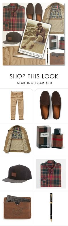 """""""Mad For Plaid"""" by anilovic ❤ liked on Polyvore featuring Hollister Co., Gucci, Burberry, Billabong, J.Crew, Herschel Supply Co., Parker, men's fashion, menswear and plaid"""