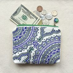 Hand Painted Pattern Coin Purse Cotton Zipper Pouch Cosmetic Bag Pencil Case blue Gift Phone Pouch Wallets Hand Drawn Henna Mandala Mehndi by SnowHennaArt on Etsy https://www.etsy.com/listing/264619350/hand-painted-pattern-coin-purse-cotton