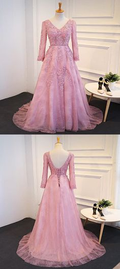 A-Line V-Neck Long Sleeves Tulle Prom Dresses Online · SofieDress · Online Store Powered by Storenvy Prom Dresses For Teens, Prom Dresses Long With Sleeves, Prom Dresses 2018, Tulle Prom Dress, Prom Dresses Online, Trendy Dresses, Nice Dresses, Formal Dresses, Long Dresses