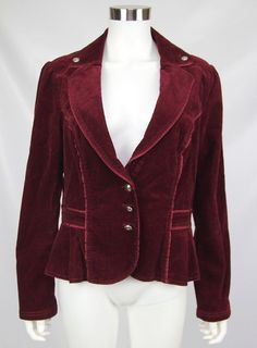 d437c859e90 White House Black Market Womens Dark Red Fitted Peplum Corduroy Blazer  Jacket 14