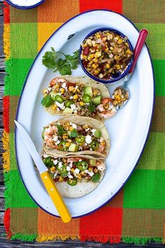 Grilled Shrimp Tacos with Charred Corn Salsa   Simple Bites