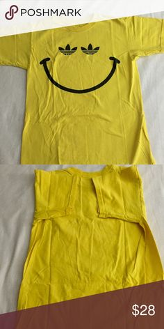 Cute Adidas smiley shirt Gently wore once or twice , in Excellent CONDITION Adidas Tops Tees - Short Sleeve