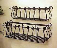 Set of 2 Wrought Iron 36 30 Large Castilian Window Planters *** Check this awesome product by going to the link at the image. (This is an affiliate link) Wrought Iron Window Boxes, Metal Window Boxes, Wrought Iron Decor, Window Planters, Planter Boxes, Concrete Planters, Metal Planters, Wall Basket Storage, Baskets On Wall