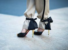 Red soles and ankle ties in New York (Adam Katz Sinding for WWD)//
