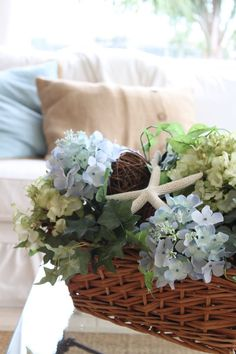 Beach,Coastal Cottage, Seaside,home decor,hydrangeas.