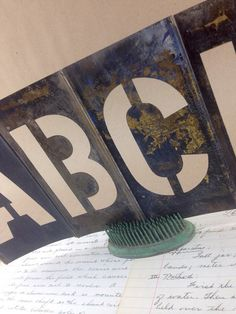 Antique Brass stencil Letters and Numbers by aVintageParcel