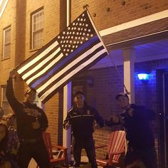 This was spotted by an Officer last night at a Student's Apartment while on patrol at the Ohio State University Wooster Campus. I have not personally seen anything like this on a college campus before, so this is too awesome not to share. Loving the thin blue line flag AND the blue porch light!