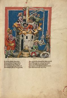 Illustration to Rudolf von Ems's World Chronicle  MS. 33 folio 13  J. Paul Getty Museum, Los Angeles, U.S.A.  Germany (Regensburg), circa 1400–1410