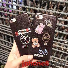 ブランドモスキーノ iphone8 ケースカバー Moschino アイフォン6s/7携帯ジャケットカバー 本皮 プリント カップル