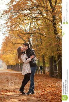 luxembourg gardens in autumn | Young beautiful couple in the Luxembourg garden at fall. Paris, France