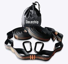 Datechip Camping Hammock Straps Tree Swing Long Heavyduty Hammock Strape with Many Loops & Carabiners High Density Polyester Fit All Hammock (Orange) Hammock Straps, Camping Hammock, Safety, Amazon, Fitness, Stuff To Buy, Bags, Accessories, Security Guard