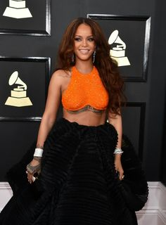 Rihanna on the red carpet at the 59th Annual Grammy Awards in Los Angeles