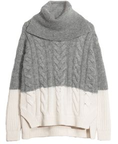 pull a coll roulé bocolor gris, ecru a torsade & other stories