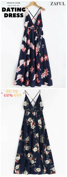 Floral Print Tie Up Maxi Beach Dress. A day at the beach calls for this maxi flowy dress. It features a plunge v collar, an extra-long self-tie wrapping around your torso, a gorgeous, oversized floral print, an elastic waistline, and a crossover front forming a high split that reveals a splash of skin as you walk. #Zaful #Dress #Outfits