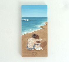 Acrylic Painting, Beach Artwork with Seashells and Sand, Couple on Beach in Seashell Mosaic on Sand, Mosaic Art, 3D Art Collage, Home Decor