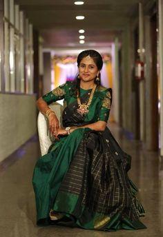 south Indian - pattu pavadai - holds the hopes of a young girl Lehenga Saree Design, Half Saree Lehenga, Pattu Saree Blouse Designs, Half Saree Designs, Lehnga Dress, Bridal Blouse Designs, Lehenga Designs, Anarkali, Traditional Blouse Designs