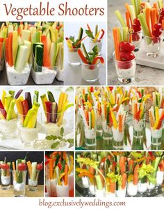 Veggie Shooters - If want your guests to be impressed with your creativity, consider serving some or all of the food in shooters, especially if you are DIY-ing some or all of your reception meal. Read more http://blog.exclusivelyweddings.com/2014/04/07/impress-your-wedding-reception-guests-serve-the-meal-in-shooters/