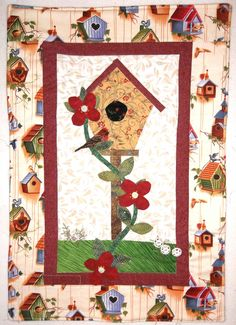 Patchwork and Applique Quilt, Birdhouse