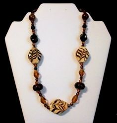 Tan with Brown Leaf Design Clay Polymer Bead with Amber Crystal Bead Necklace and Earring Set by Culbertscreations on Etsy