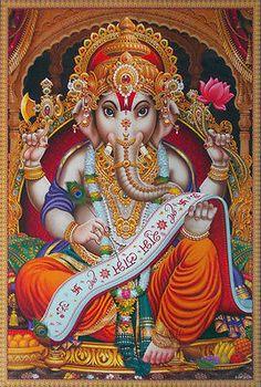 Inch Poster Lord Ganesha Writing, Golden Effect Glossy Paper Lord Vishnu, Lord Ganesha, Lord Shiva, Señor Krishna, Hanuman Chalisa, Ganesha Tattoo, Ganesha Art, Ganesh Statue, Elefante Hindu