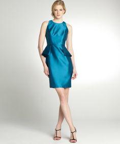 Carmen Marc Valvo peacock sateen peplum sleeveless dress