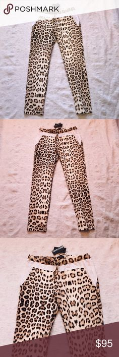 NWT***ROBERTO CAVALLI**Leopard Pants**Small**$485 Gorgeous stretchy cotton pants. These are brand new with tags still attached. Great for wearing out to lunch or to work out!! They are gorgeous and will never go out of style. They are an adult small. Drawstring waist. Roberto Cavalli Pants
