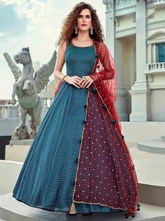 Pleasing blue embroidered gown online at best shopping price. Shop this latest gown style for diwali celebration. This alluring style set comprises a silk gown with matching net dupatta. Designer Wedding Gowns, Designer Gowns, Designer Anarkali, Designer Wear, Indian Gowns, Indian Outfits, Salwar Kameez, Kurti, Churidar