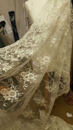 THIS IS POLYESTER FABRIC. YOU CAN REQUEST A SAMPLE. IF ITEM IS BOUGHT IN QUANITYS IT WILL COME IN ONE LENGHT. | eBay! Sequin Fabric, Scalloped Lace, Ivory, Sequins, Bridal, Wedding Dresses, Stuff To Buy, Wedding Ideas, Ebay