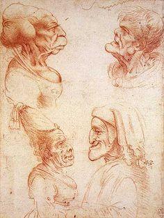Leonardo Da Vinci Grotesque Portrait Studies with a caricature of Dante (bottom right), c.1492