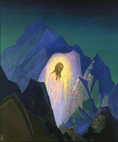 Nicholas Roerich, Christ in the Desert Religious Paintings, Religious Art, Nicholas Roerich, Inspiration Art, Russian Art, Sacred Art, Christen, Christian Art, Heart Art