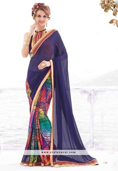 Adorable Lace Border Georgette Party Wear Saree