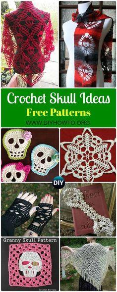 Crochet Skull Ideas Free Patterns: Crochet Skull Motifs, Skull Scarf, Skull Shawl, Skull Gloves, Shoes, Granny Skulls for Fall & Halloween via @diyhowto