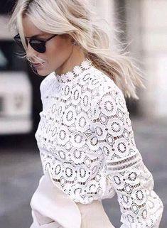 Elegant floral chic lace blouse shirt Women lantern sleeve back zipper white blouse hollow out short top blouse blusas Dressy Outfits, Fashion Outfits, Womens Fashion, Summer Outfits, Fashion Trends, Ladies Fashion, Trendy Fashion, Style Fashion, Fashion Ideas