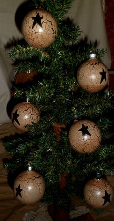 Primitive not Wood 6 Christmas Ornament Ornie Bulb Tan Crackle Country Decor | eBay