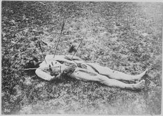 This is the body of Sgt. Frederick Wyllyams, Troop G, Seventh U.S. Cavalry. He was killed and mutilated by a mixed band of Sioux, Arapaho and Cheyenne Indians near Fort Wallace, Kansas, 1867. The ritual slashes on Wyllyams' body were done after he was killed to indicate the tribal affiliation of the killer.