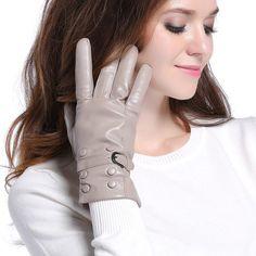 003GRM-US Women Gray Genuine Nappa Leather Winter Adjustable Strap Gloves M #InlnDtor #WinterGloves #Appointmentsleisureoperapartyandformal