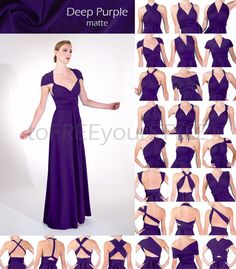 Long convertible dress in DEEP PURPLE matte, A-LINE Free-Style Dress, maxi infinity dress, convertible wrap dress, bridesmaid dress, wedding