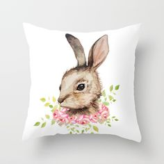 Buy Easter bunny with flower wreath  Throw Pillow by craftberrybush. Worldwide shipping available at Society6.com. Just one of millions of high quality products available.