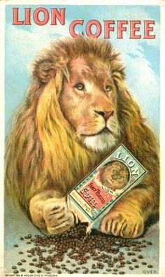 Michelle Vonparis saved to pub vintage Lion Coffee Trade Card. I Love Coffee, Coffee Tin, Vintage Coffee, Coffee Shop, Coffee Mugs, Vintage Labels, Vintage Ads, Vintage Posters, Vintage Logos